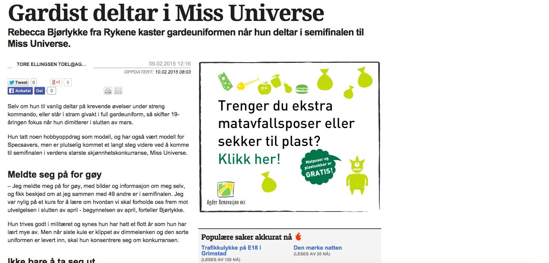 """""""Gardist deltar i Miss universe"""""""